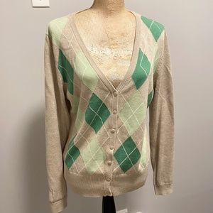 🇨🇦 H & M 100% Cotton Argyle Cotton Cardigan, Size Large, Beige, Green & White